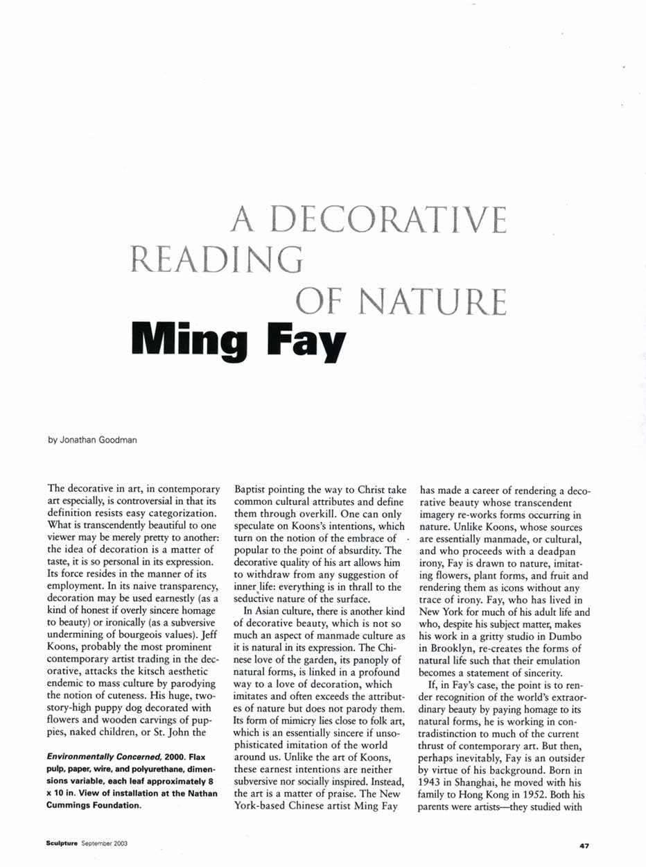 A Decorative Reading of Nature: Ming Fay, article, pg 1