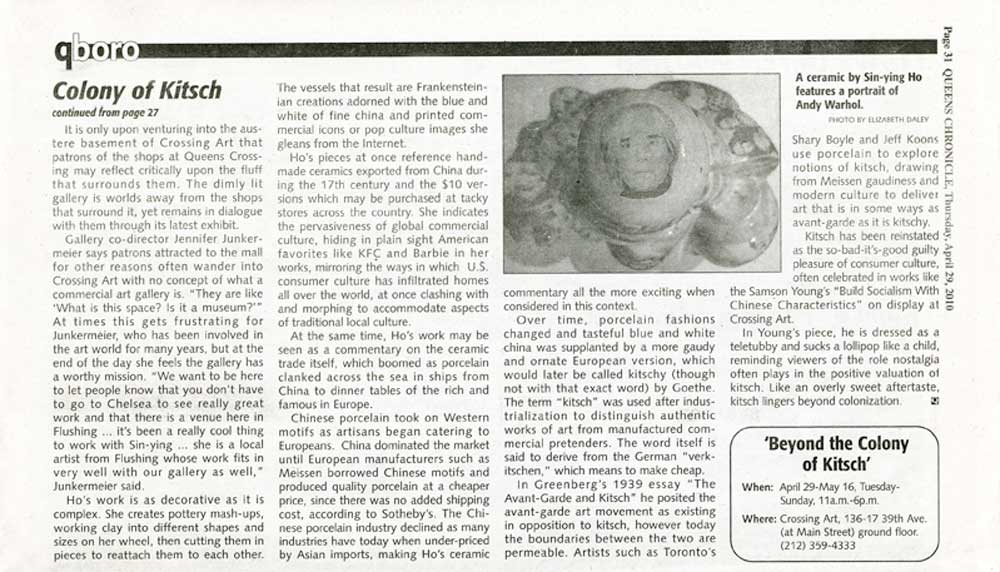"Article ""Beyond Kitsch"" by Elizabeth Daley in Queens Chronicle, April 29th, 2010"