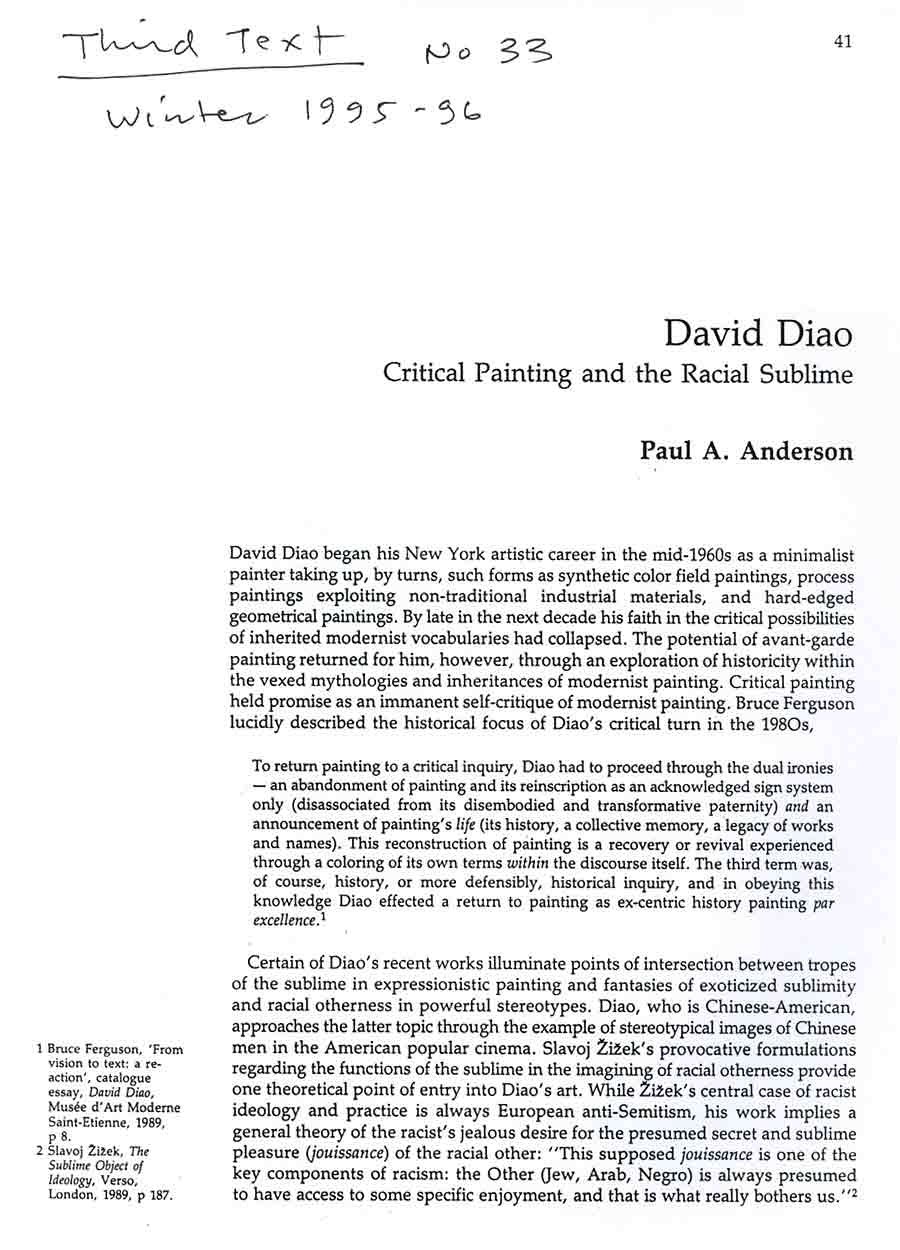 David Diao: Critical Painting and the Radical Sublime, article, pg 1
