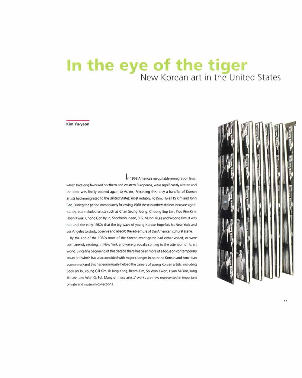 In the Eye of the Tiger, article, pg 1