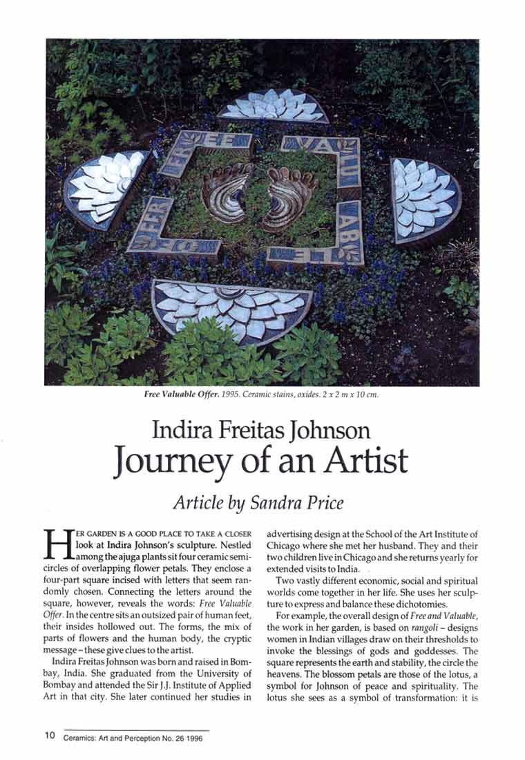 Indira Freitas Johnson: Journey of an Artist, article, pg 1
