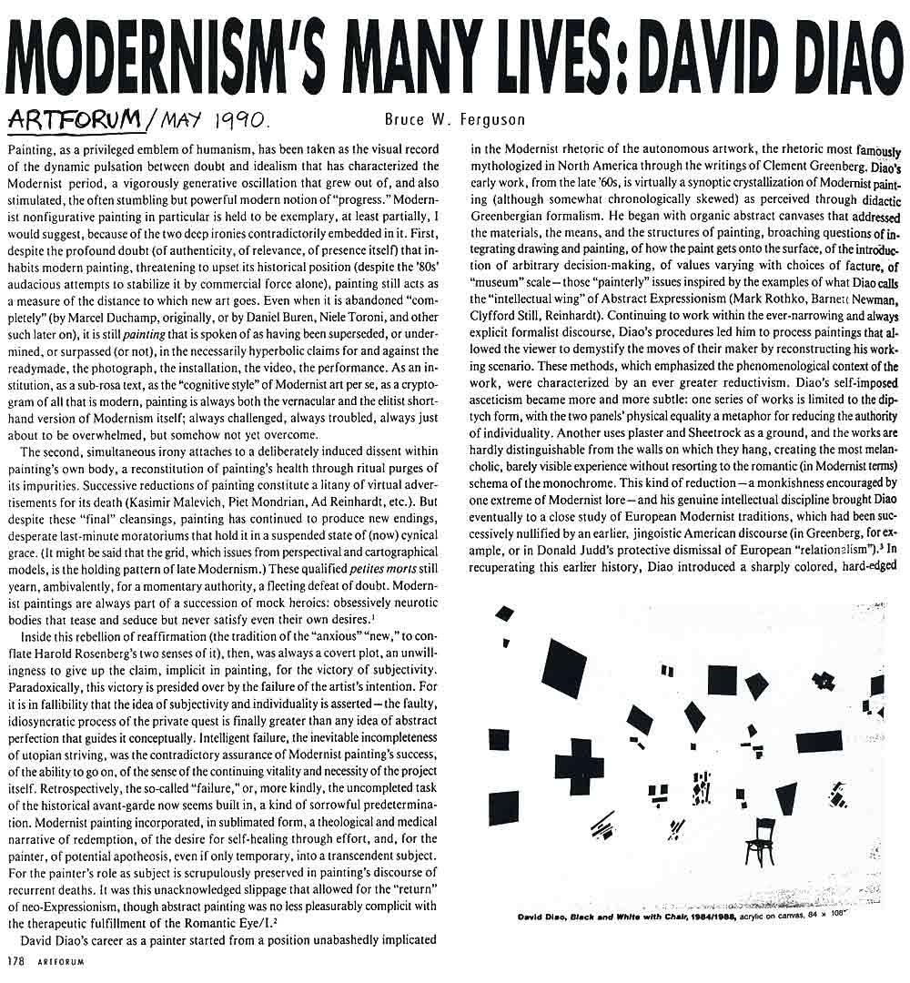 Modernism's Many Lives: David Diao, article, pg 1