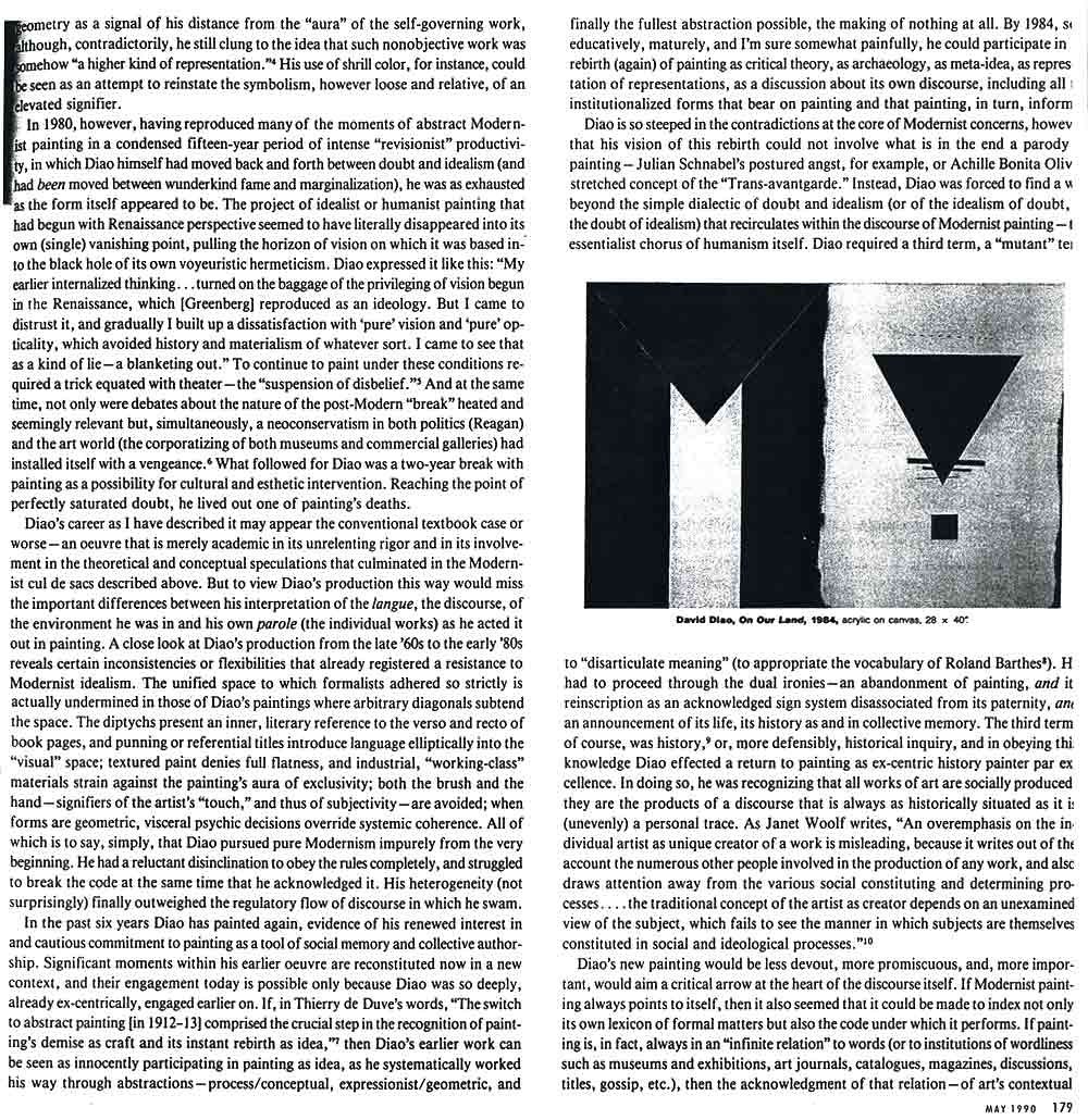 Modernism's Many Lives: David Diao, article, pg 2