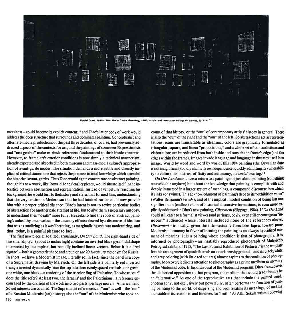 Modernism's Many Lives: David Diao, article, pg 3