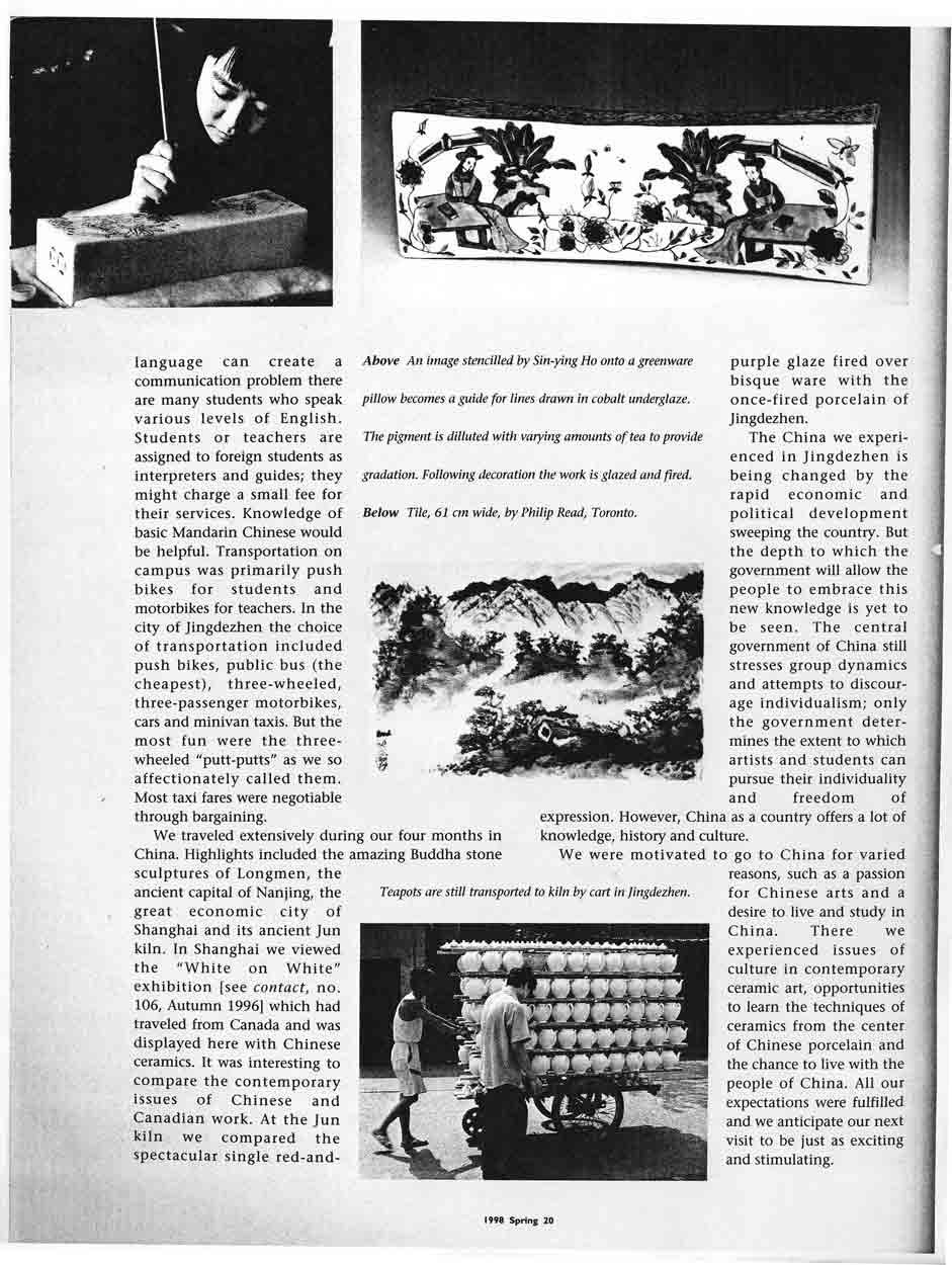 "Article ""Studying Ceramics in Jingdezhem"" by Sin-ying Ho and Philip Read, Contact, Spring 1998"