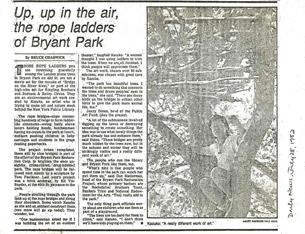 Up, Up in the Air, the Rope Ladders of Bryant Park, article