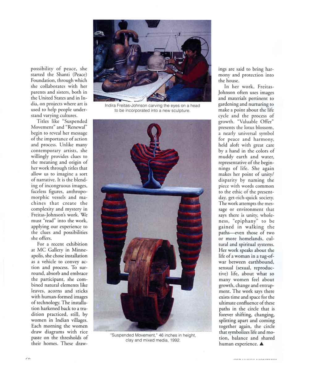 Valuable Offerings: The Ceramic Sculpture of Indira Freitas-Johnson, article, pg 3