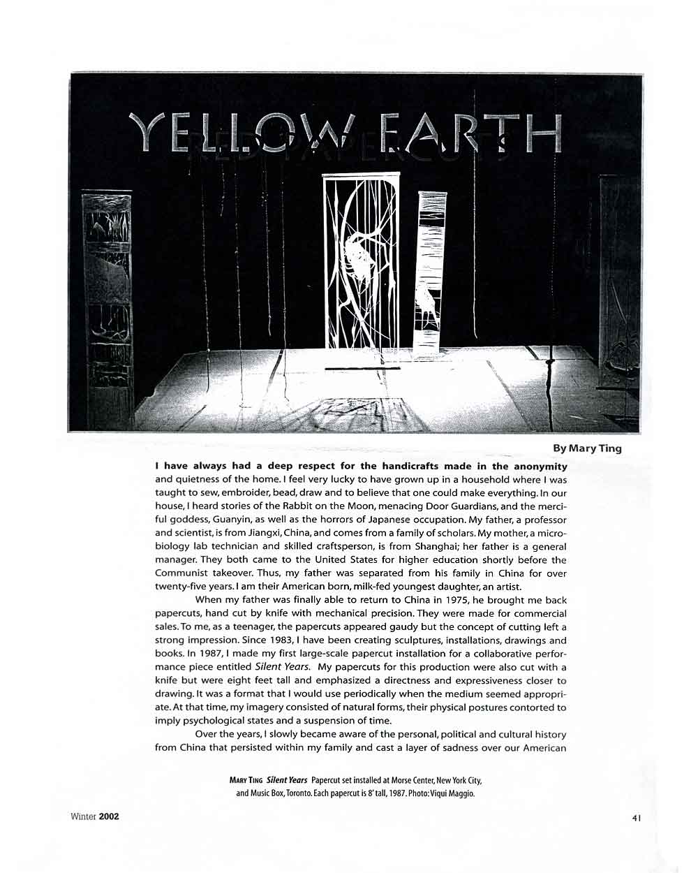 Yellow Earth, article, pg 1