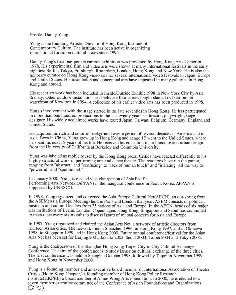Danny Yung's Artist Biography, pg 1