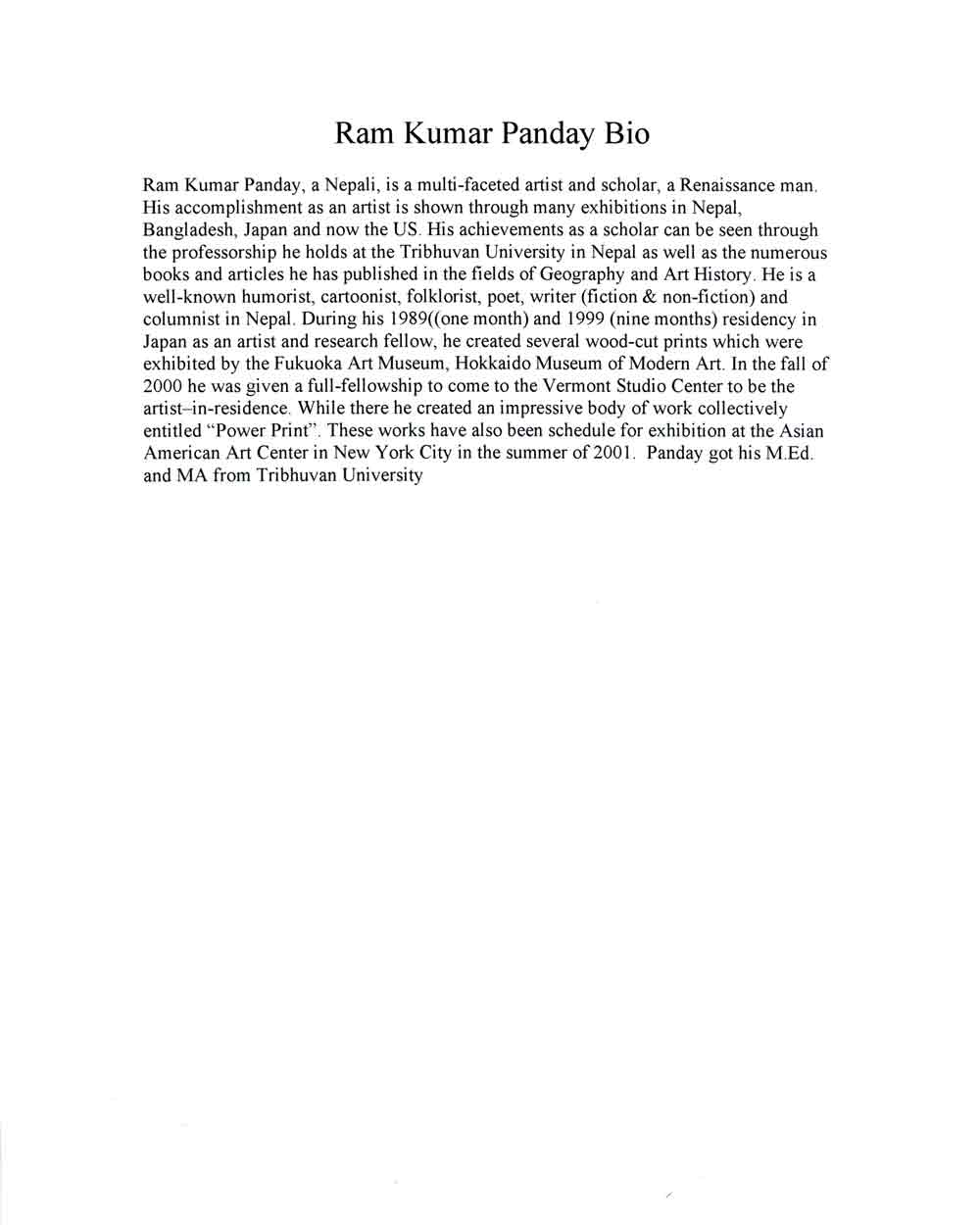 Ram Kumar Panday's Biography