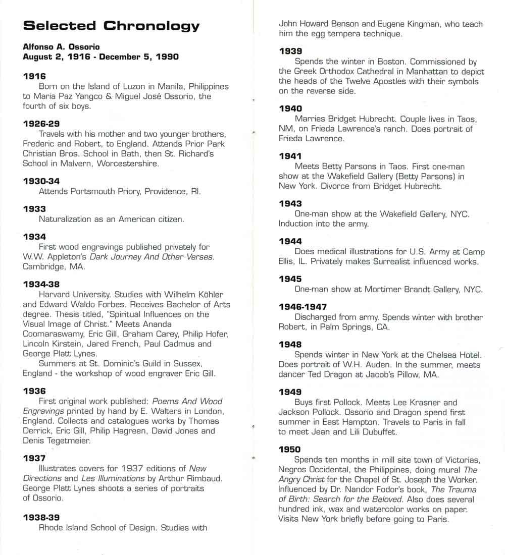 Alfonso Ossorio's Biography, pg 1
