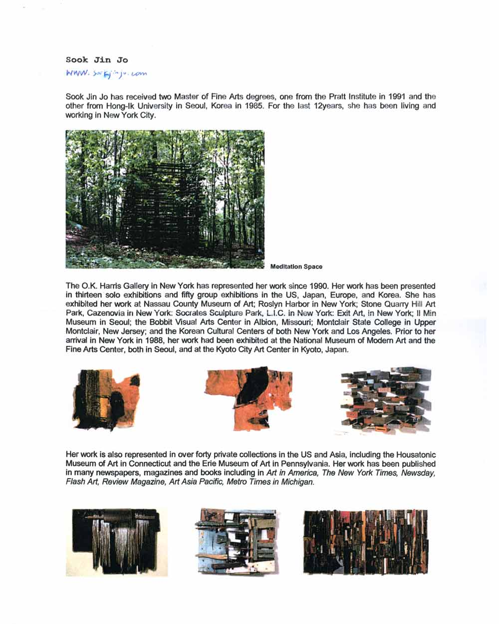 Sook Jin Jo's artist biography, pg 1