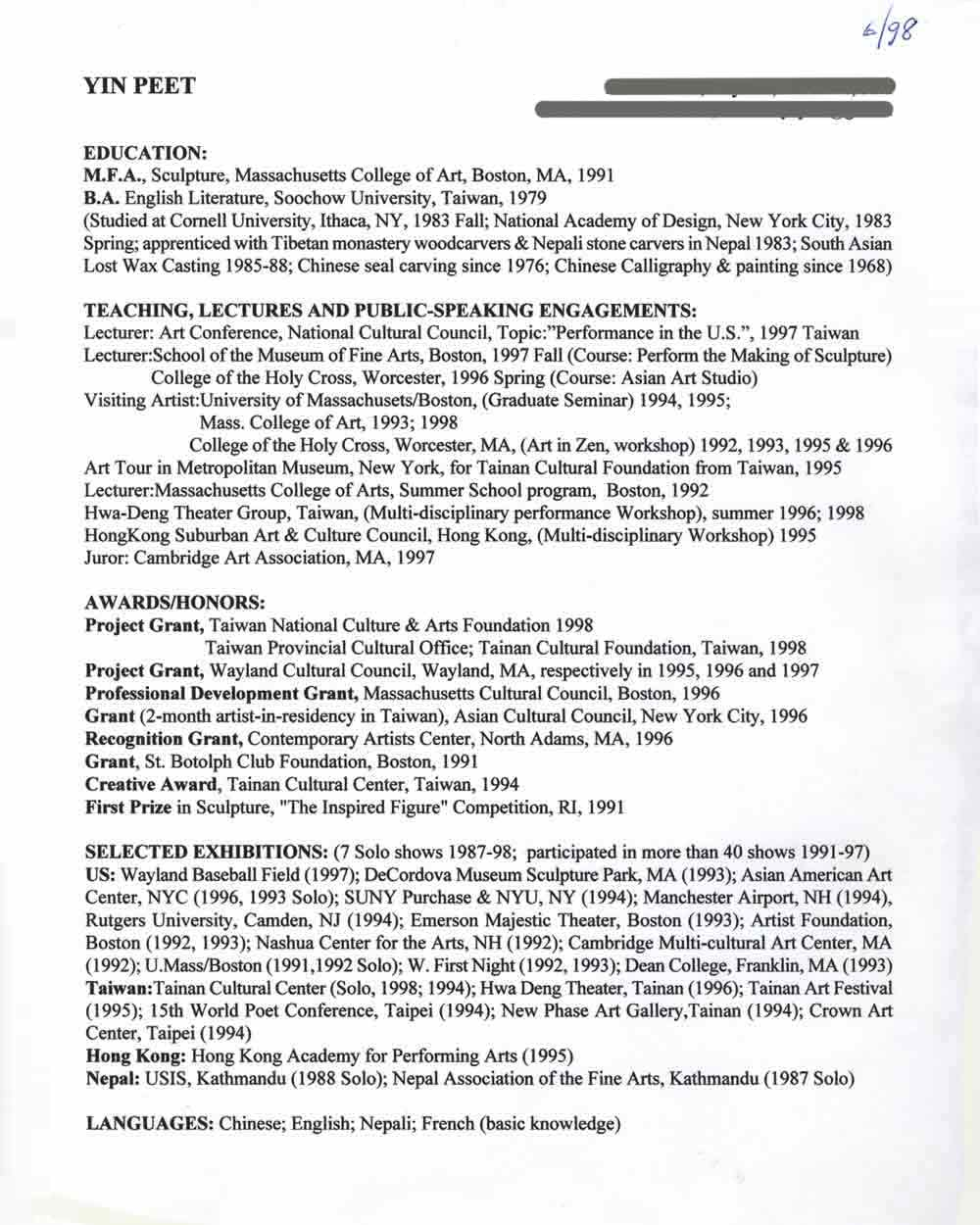 Yin Peet's Resume