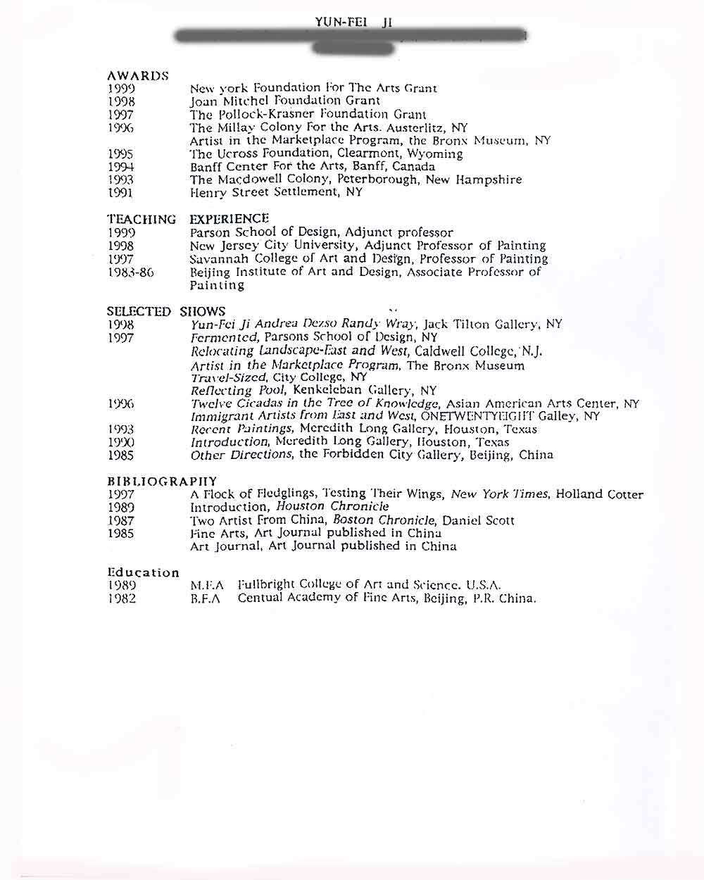 Yun-Fei Ji's Resume, 1999