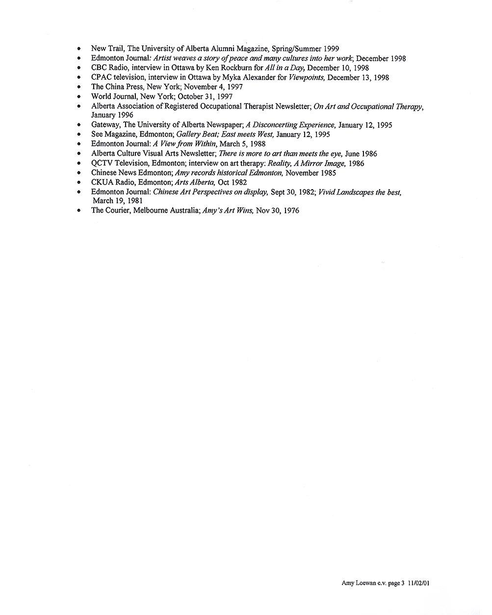 Amy Loewan's Resume, pg 3