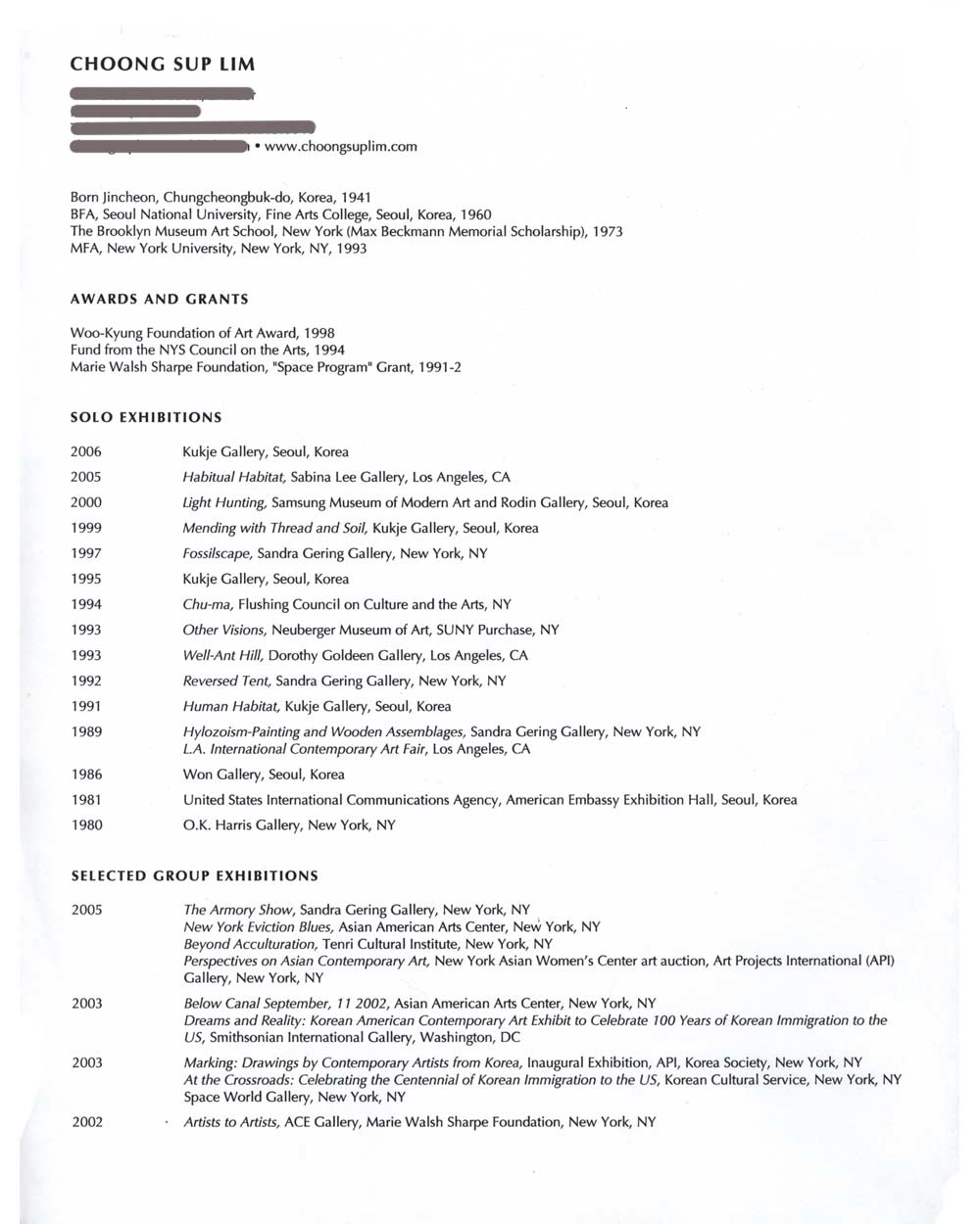 Choong Sup Lim's Resume, pg 1