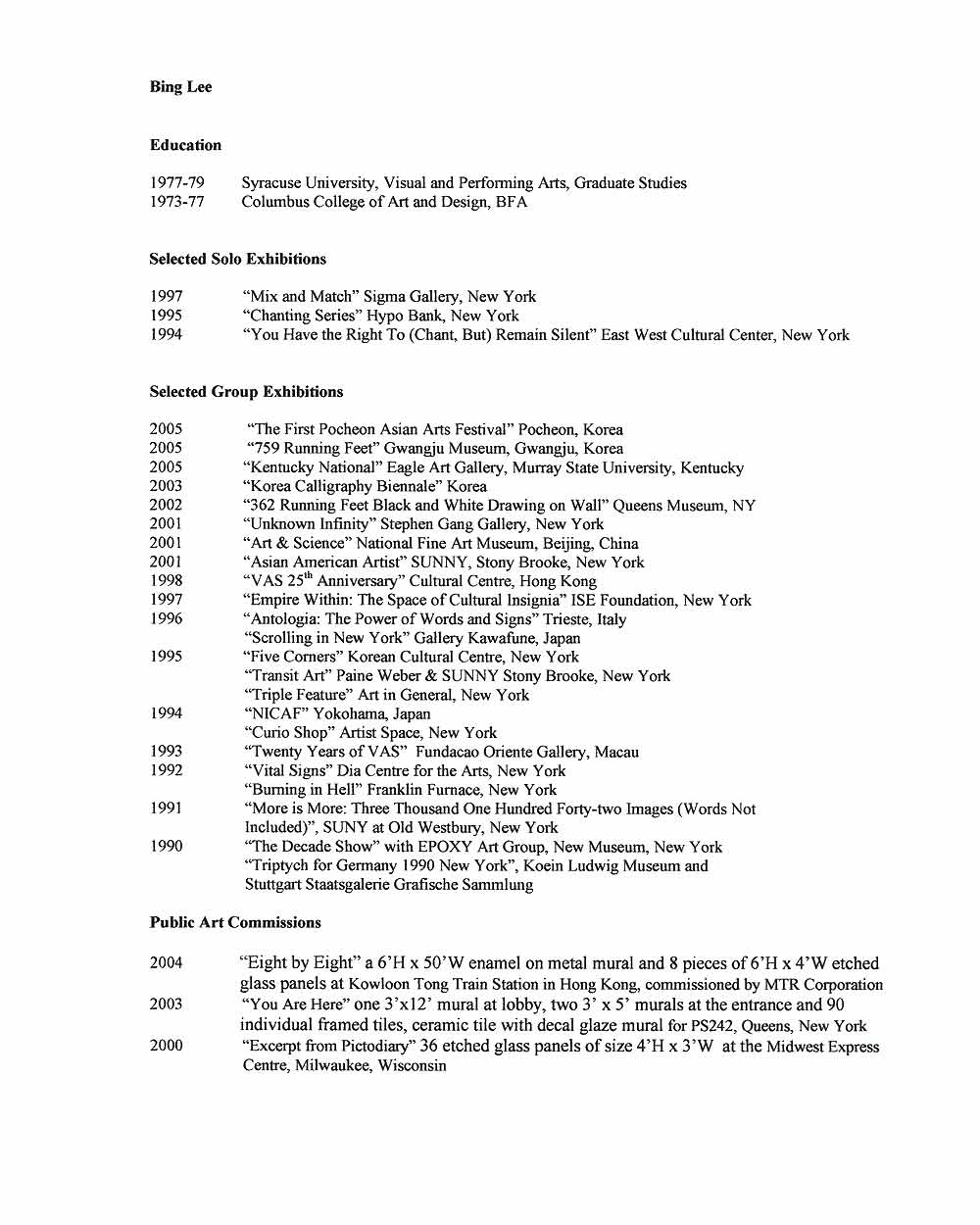 Bing Lee's Resume, pg 1