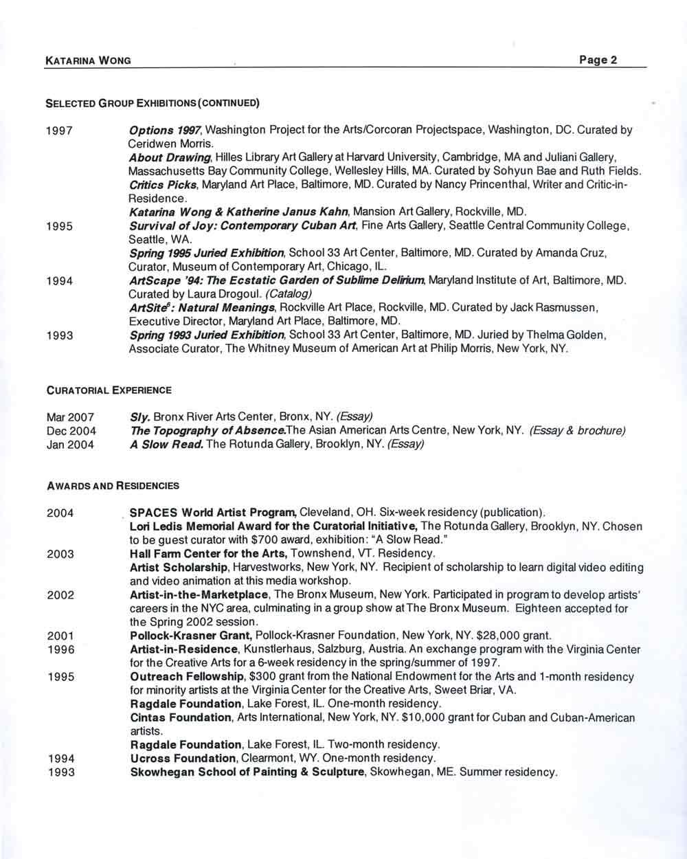 Katarina Wong's Resume, pg 2