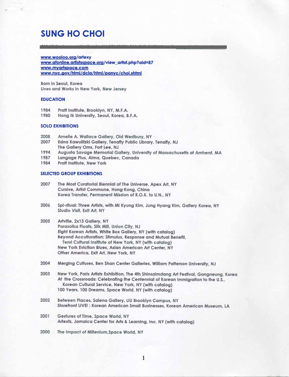 Sung Ho Choi's Resume, pg 1