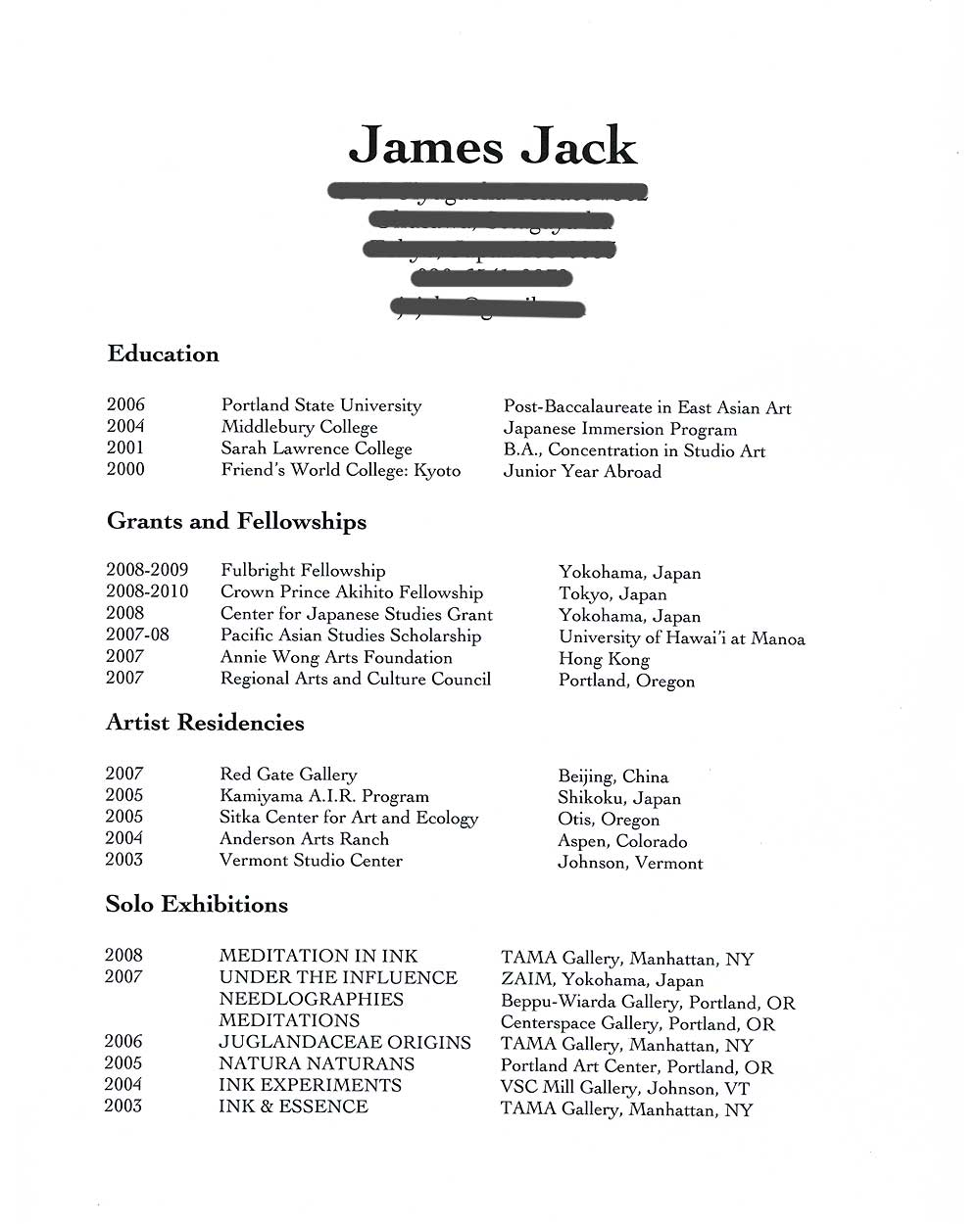 James Jack's Resume, pg 1