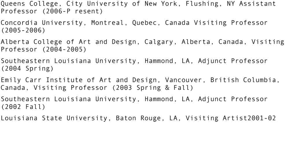 Artist Resume, 2010