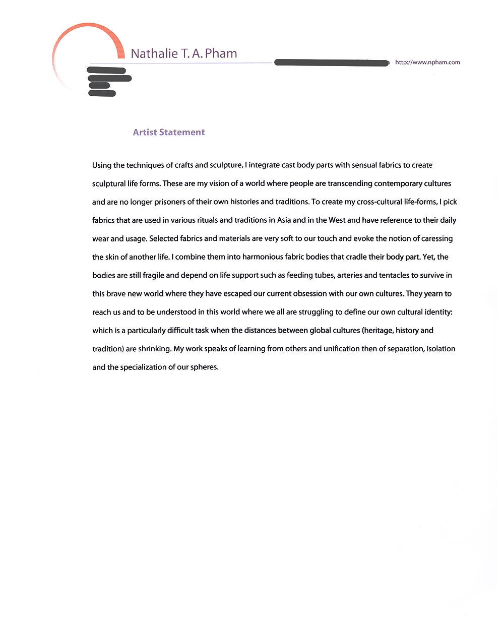 Nathalie Pham's Artist Statement