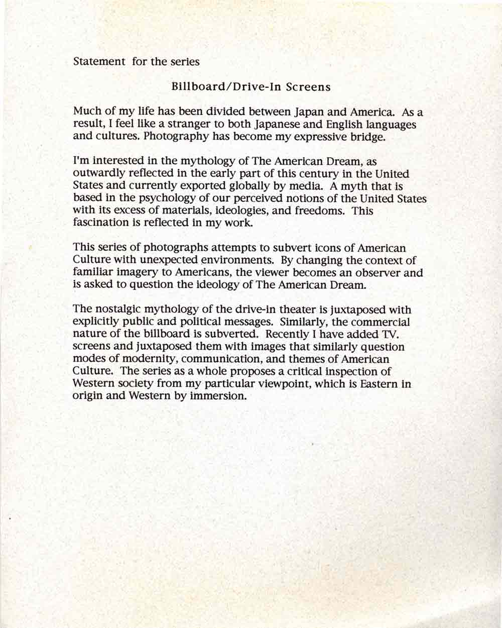 Billboard/Drive-In statement
