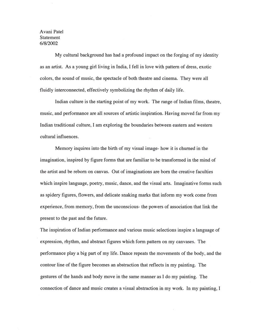 Avani Patel's Artist Statement, pg 1