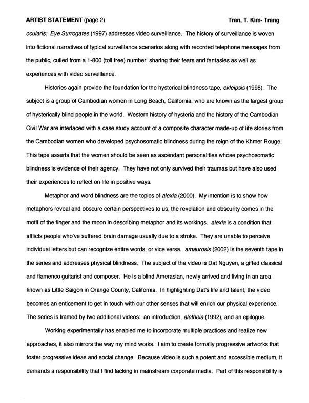 T. Kim-Trang Tran's statement, pg 2