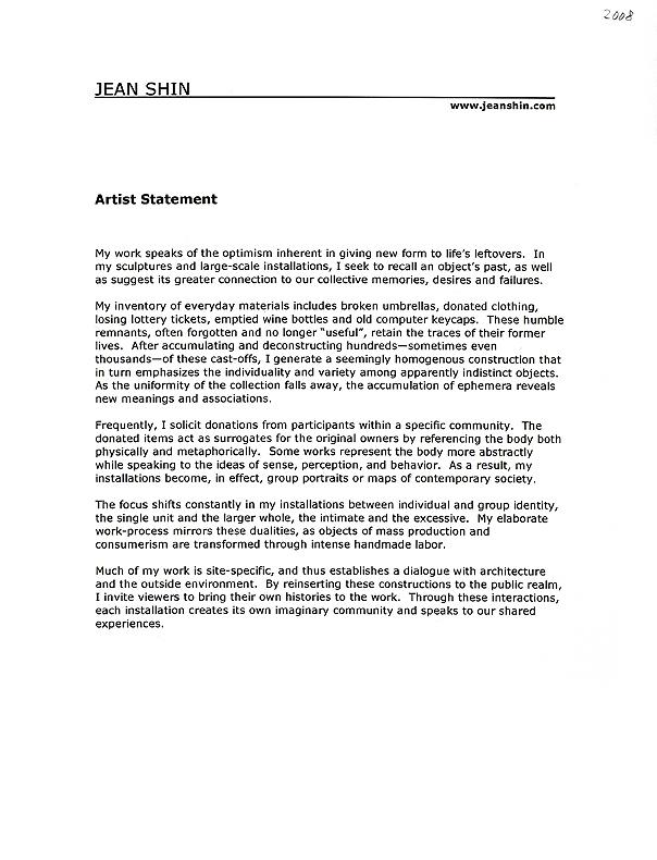 Jean Shin's Artist Statement, 2008