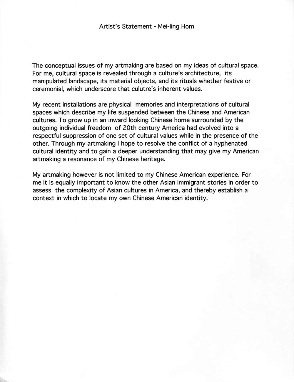 Mei Ling Hom's Artist Statement