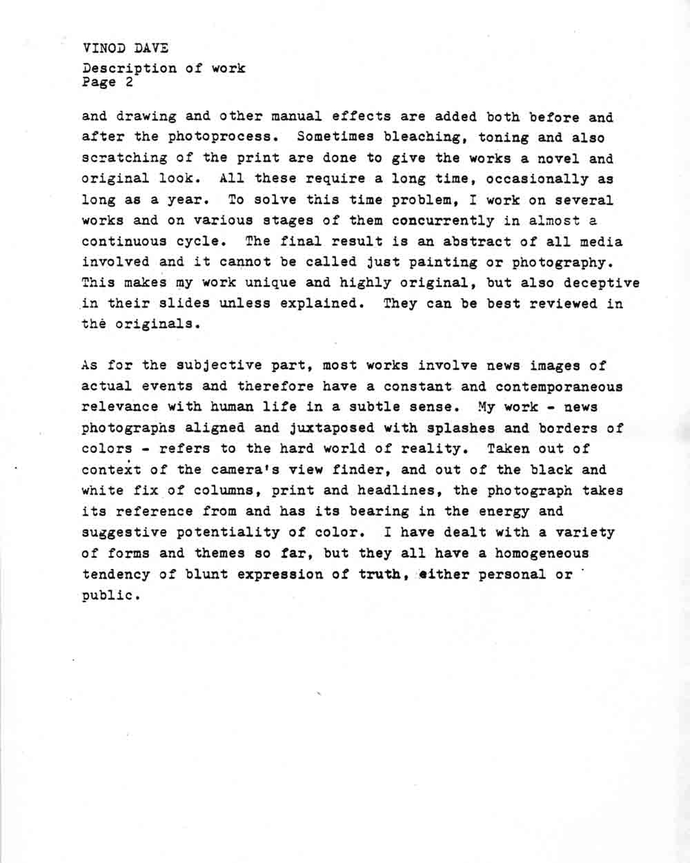 One Line Artist Statement : Dave vinod selected document artasiamerica a