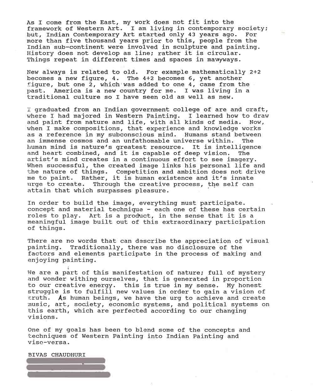 Bivas Chauduri's Artist Statement, pg 1