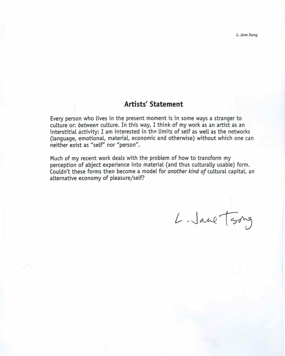 Lily Tsong's Artist Statement, signed as L. Jane Tsong