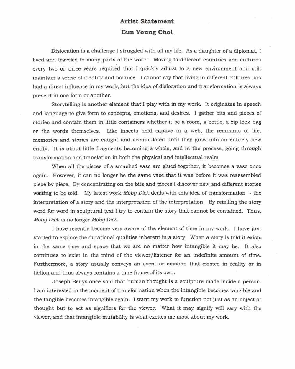 Eun Young Choi's artist statement. Source: Document