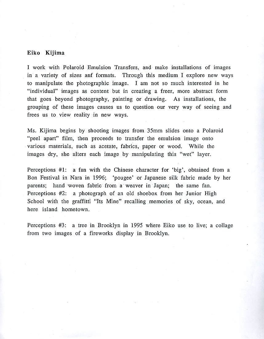 Eiko Kijima's Artist Statement for Perceptions