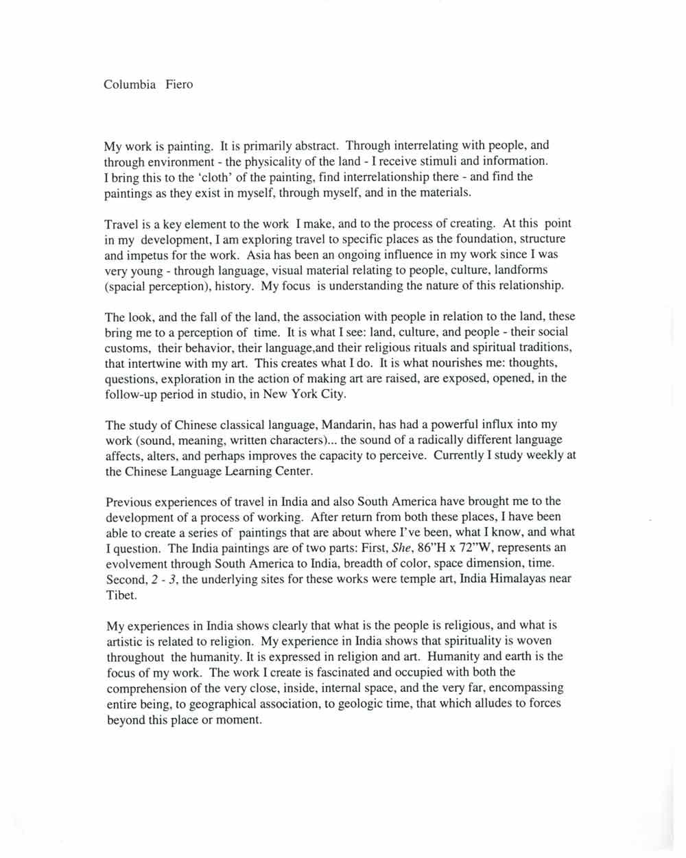 One Line Artist Statement : Fiero columbia selected document artasiamerica a