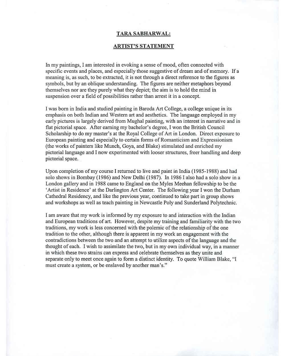 Tara Sabharwal's artist's statement, pg 1
