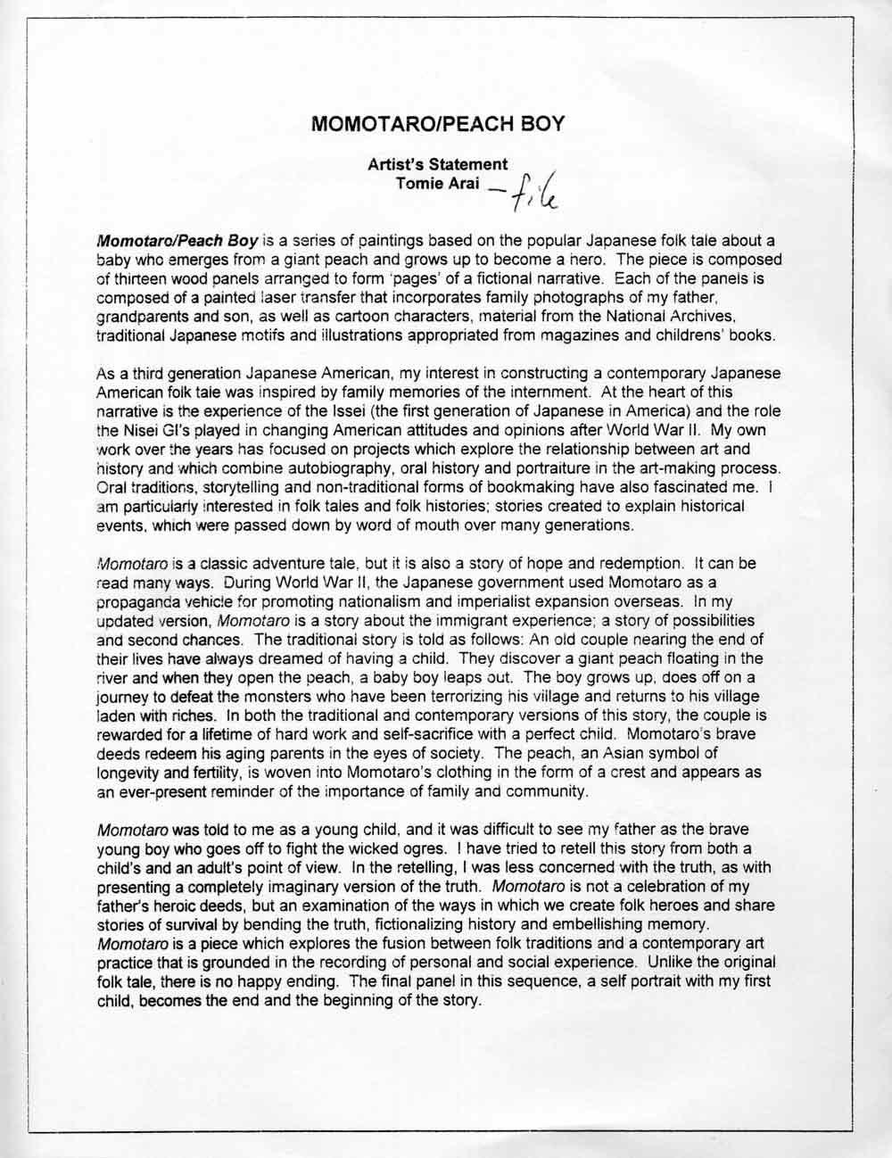 Tomie Arai's Artist Statement, 2