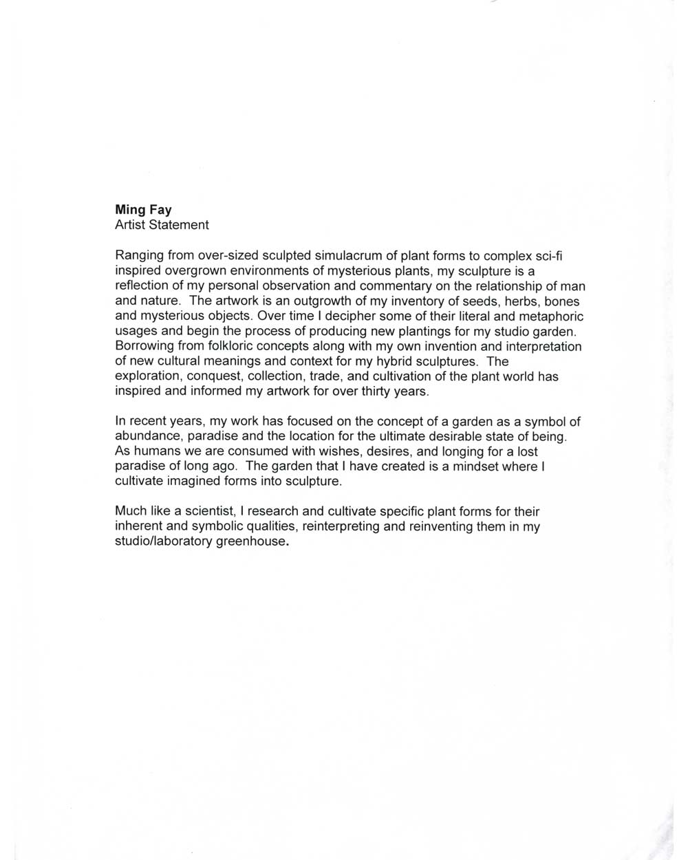 Ming Fay's Artist Statement