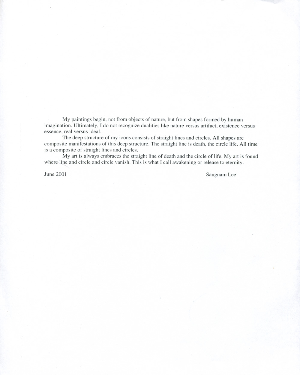 Sang Nam Lee's Artist Statement, June 2001