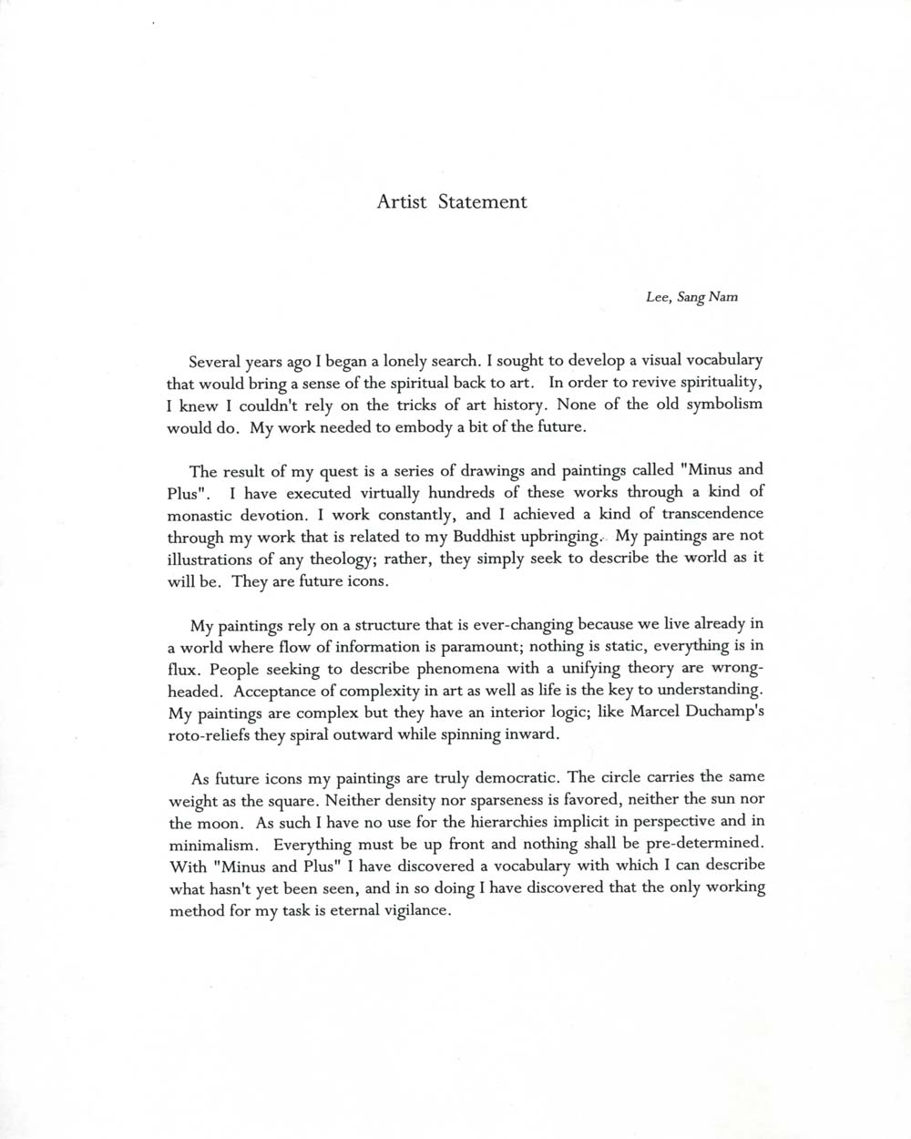 Sang Nam Lee's Artist Statement, undated