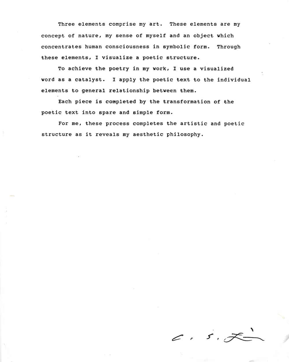 Choong Sup Lim's Artist Statement, pg 2