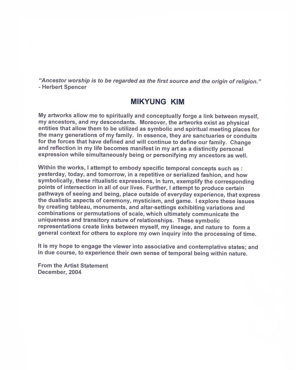Mikyung Kim's Artist Statement, pg 2