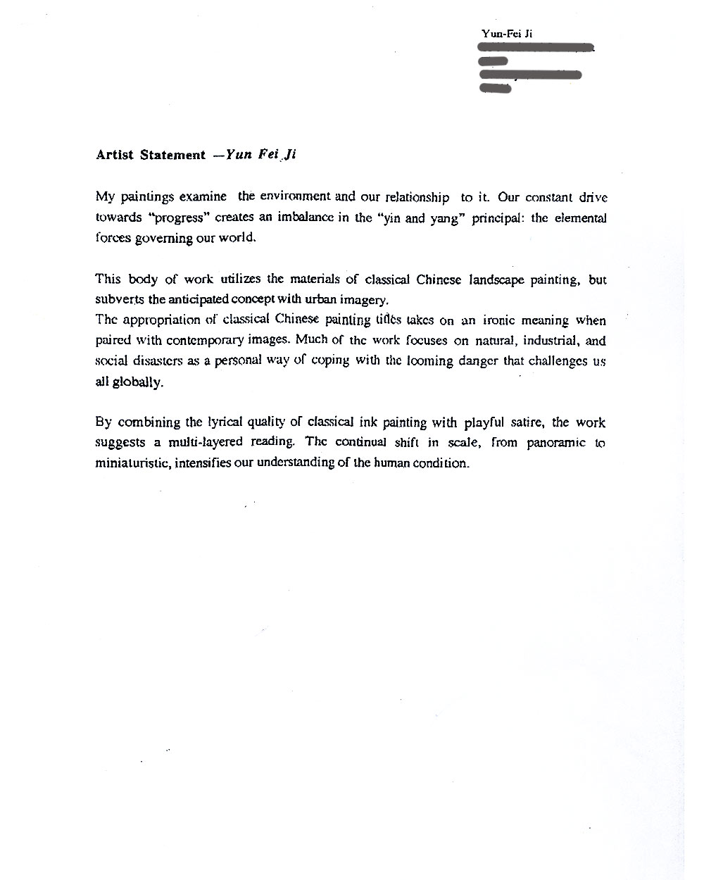 Yun-Fei Ji's Artist Statement, undated