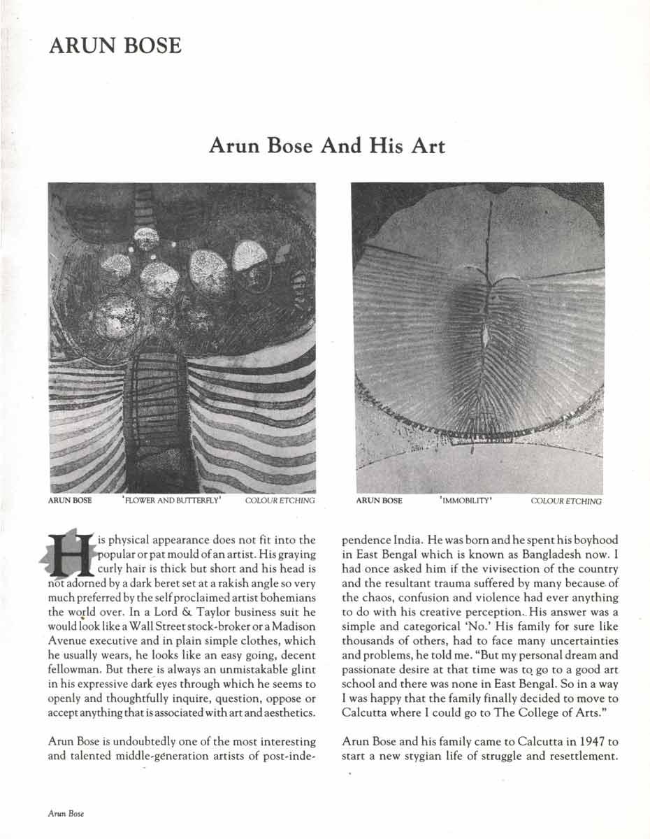 Arun Bose and His Art, pg 1