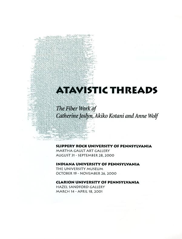 Atavistic Threads, catalog, pg 1