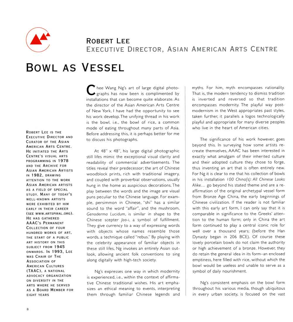 Bowl as Vessel by Robert Lee, catalog, pg 1
