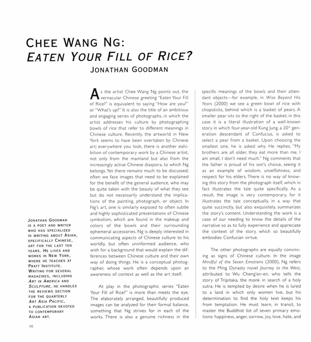 Chee Wang Ng: Eaten Your Fill of Rice?, essay, pg 1
