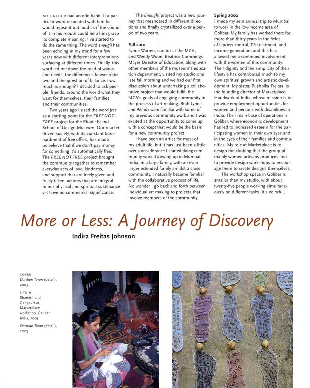 More or Less: A Journey of Discovery, essay, pg 1